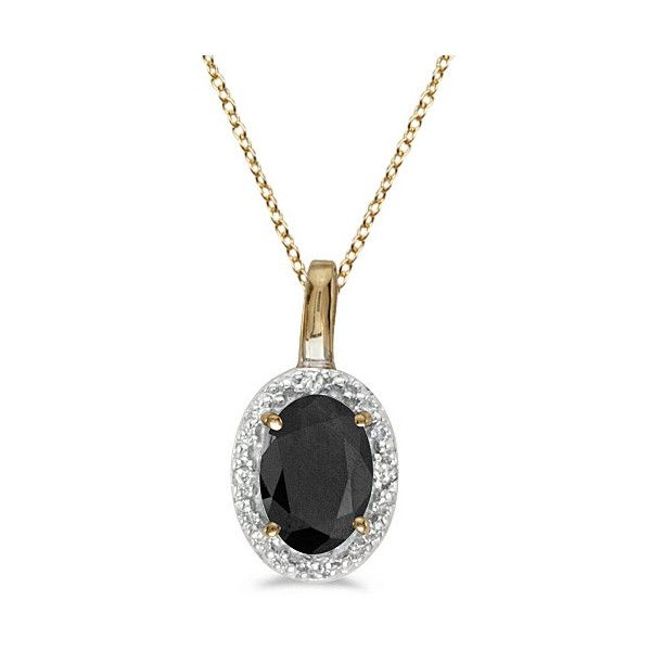 Allurez oval black onyx and diamond pendant necklace 14k yellow gold allurez oval black onyx and diamond pendant necklace 14k yellow gold 047tcw featuring aloadofball Images