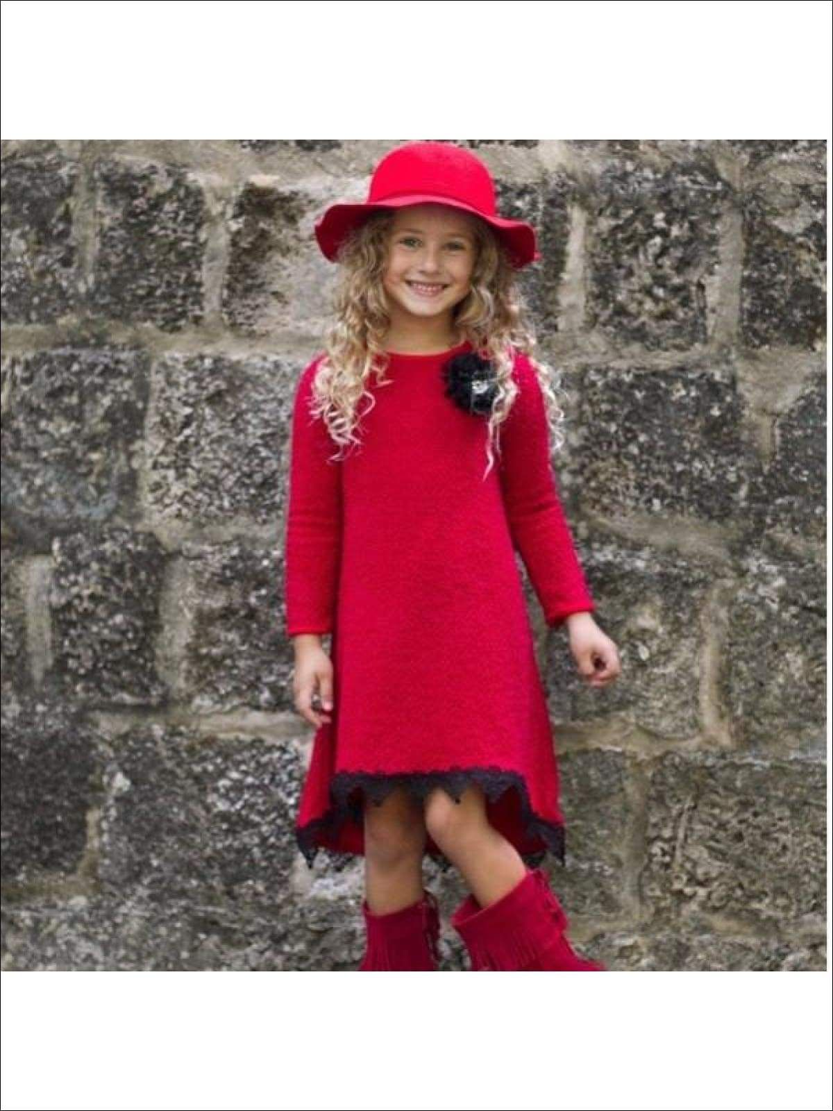 Girls Red Hi Low A Line Sweater Dress Toddler Girl Dresses Sweater Dress Toddler Dress [ 1600 x 1200 Pixel ]