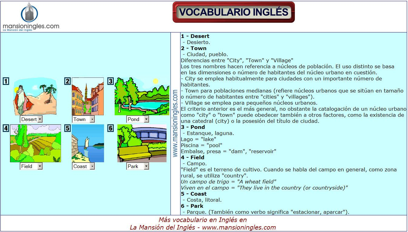 Vocabulario En Inglés De Naturaleza Vocabulario Vocabulario En Ingles Frases En Ingles