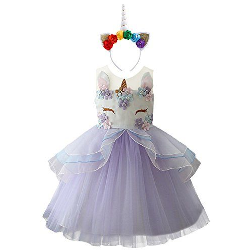 0e8885e89 Girls Unicorn Tutu Dress Horn Headband Toddler Halloween Costume ...