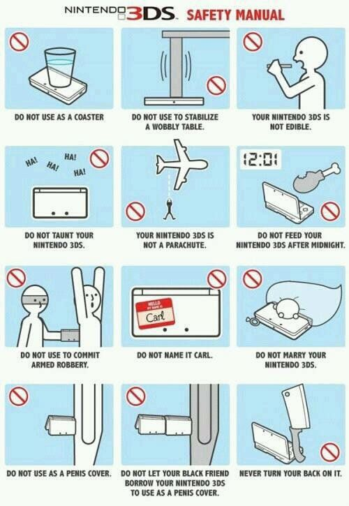 lost page from the nintendo 3ds manual what not to do pinterest rh pinterest com Nintendo 3DS Instruction Booklet nintendo 3ds xl operations manual phone number