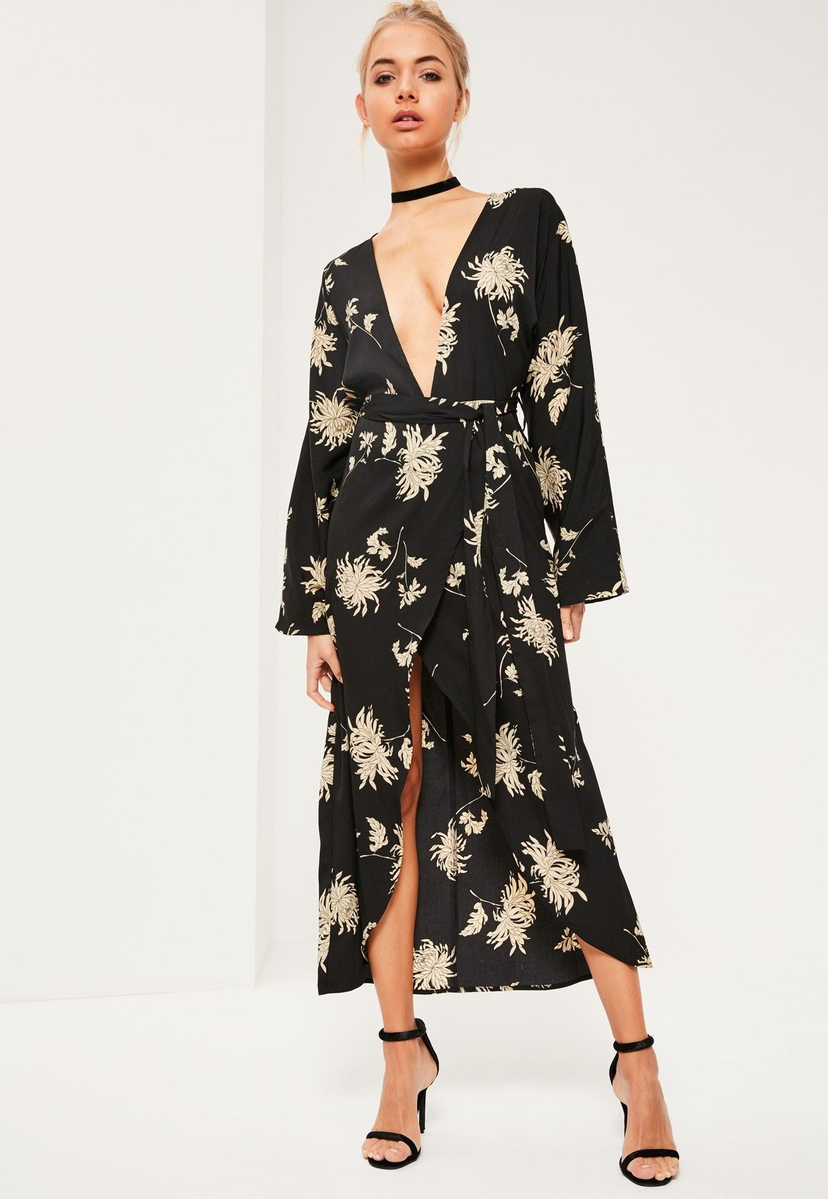 Black Floral Printed Silky Kimono Maxi Dress | Pinterest
