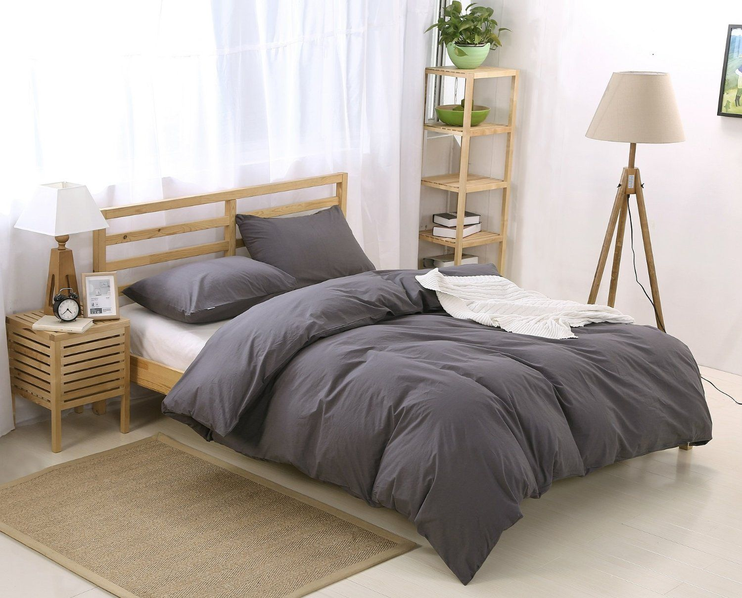 Colourful Snail Natural Washed Cotton Duvet Cover Set Ultra Soft And Easy Care Fade Resistant Queen Full Dark Grey