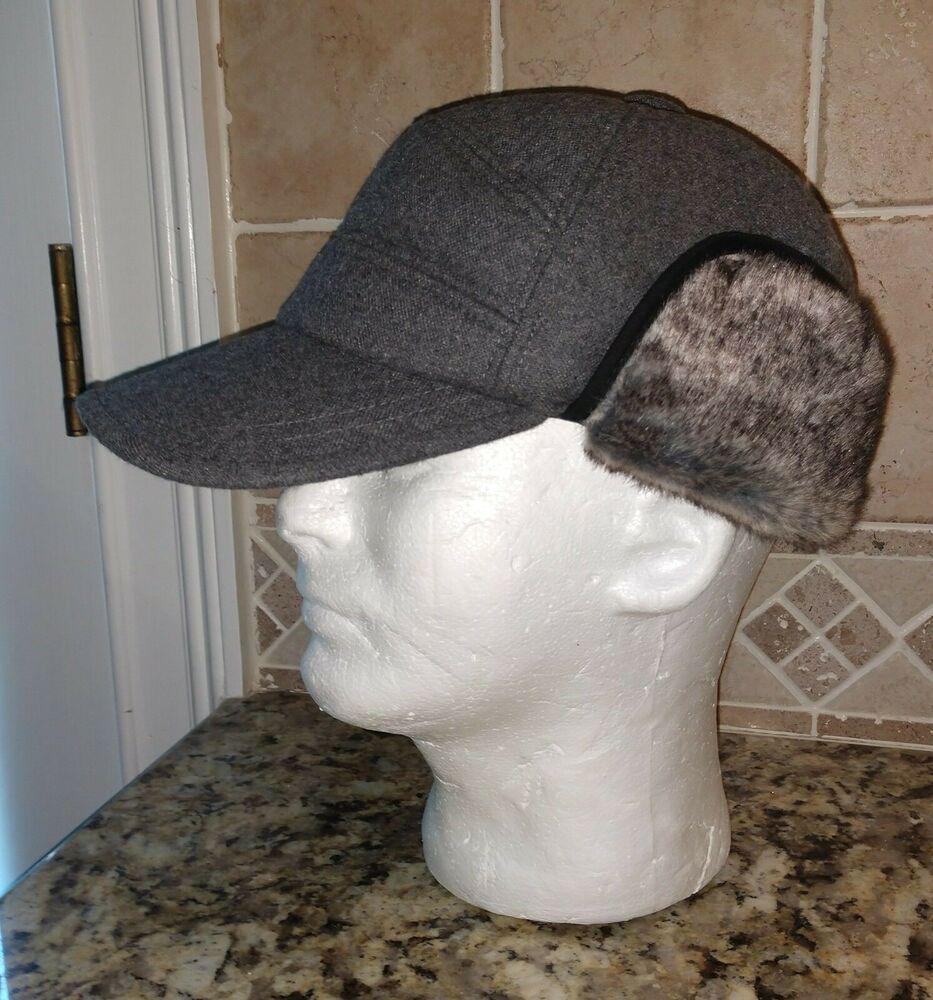 Men s NEW Siggi Winter Wool Blend Ball Cap Hat Faux Fur Ear Flaps - Size 7  1 4