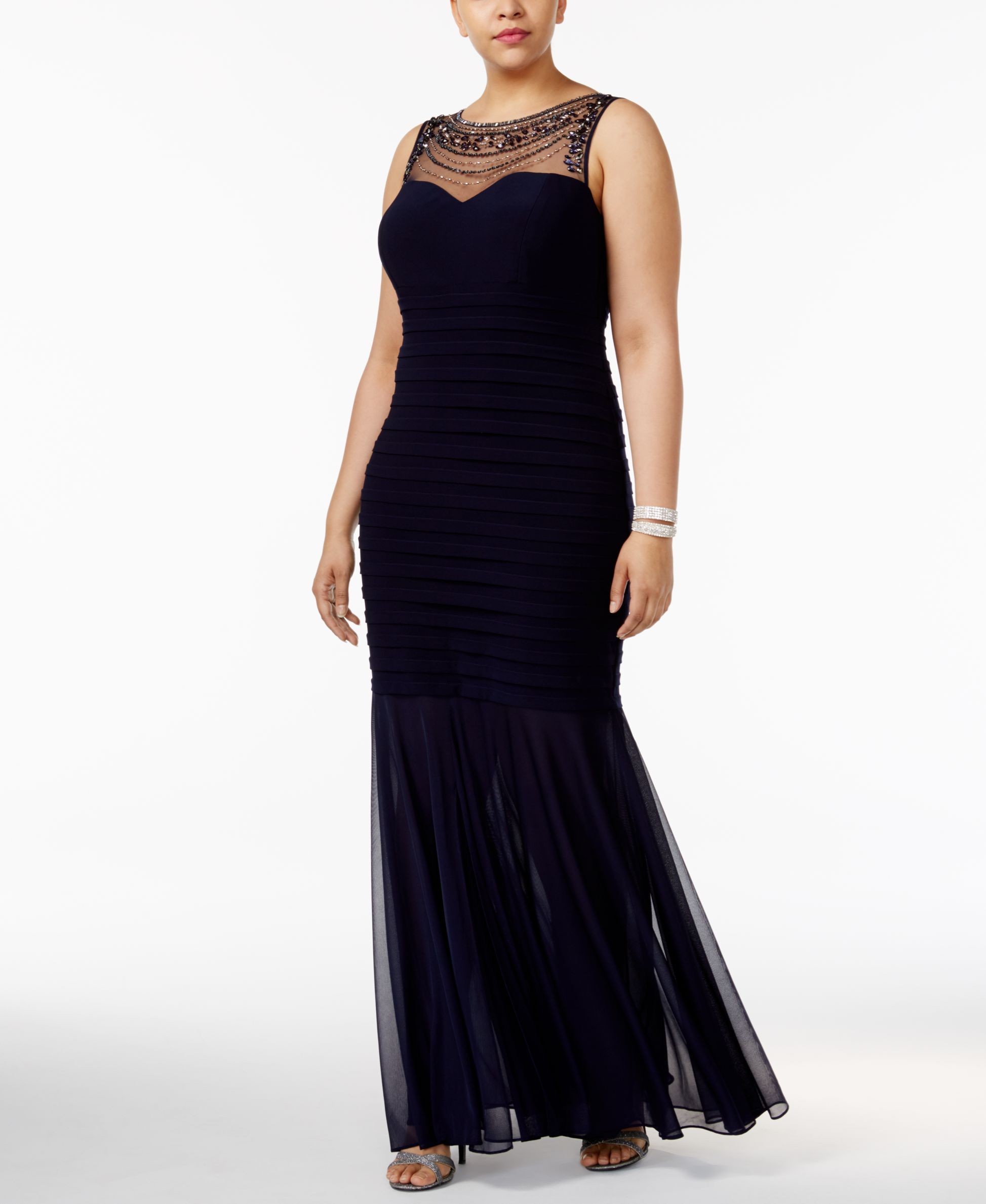 Xscape plus size beaded illusion mermaid gown products pinterest