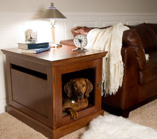 The Townhouse Indoor Dog House gives your pets privacy and comfort within your own home.  This wooden dog house design also doubles as a side table, with ideal placement next to a sofa or a bed.  The interior is designed to hold a padded dog bed, which can be easily removed for cleaning.  If you're an apartment or city dweller, you don't need a yard to have a doghouse.