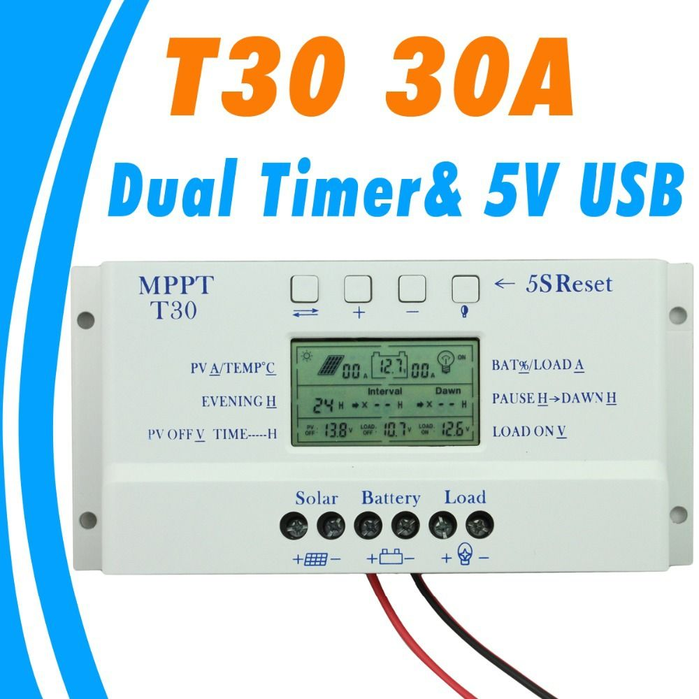 2017 New Solar Charge Controller 30a Mppt Pwm Voltage Settable Lcd Details About Regulator 12v 24v 30amp Dispaly Light And Dual Timer