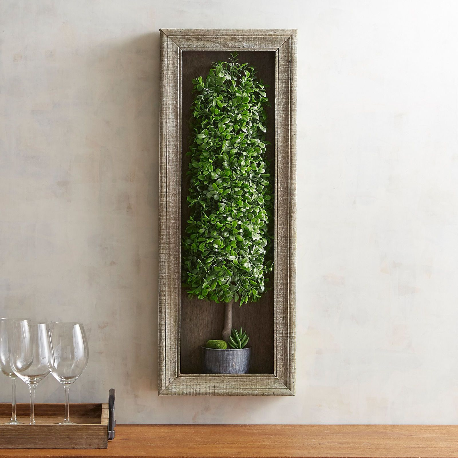 Faux Boxwood Topiary Shadow Box - Pier 1 Imports