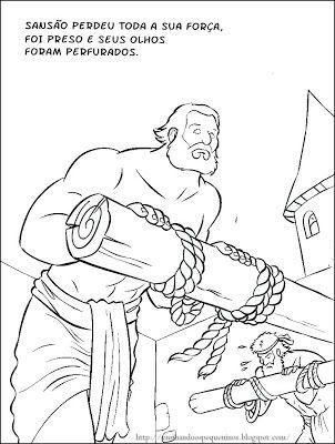Sansao Lidando Com Erros Fatais Desenhos Biblicos Para Colorir