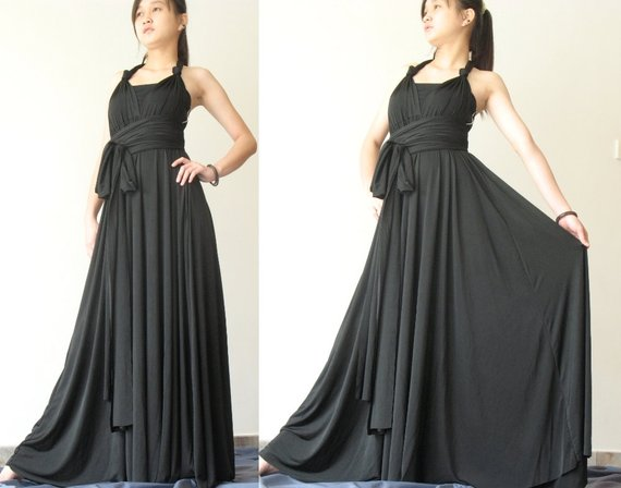 Convertible Wrap Dress Black Infinity Dress Long Maxi Dress/ Plus ...