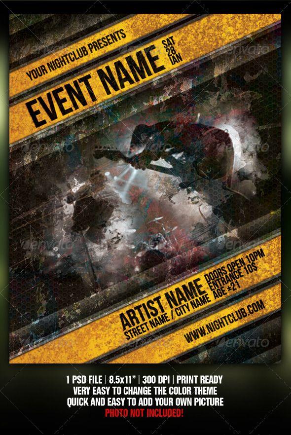 Grunge Night Club Party/Concert Flyer/Poster V2 Pinterest
