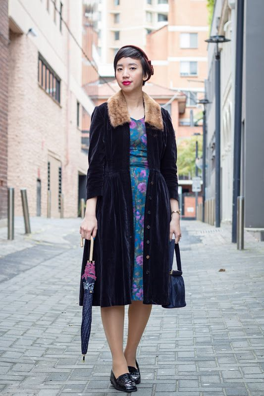 NoraFinds | Vintage Blog Vintage Blogger Sydney |  1950s Winter Velvet Coat Dress