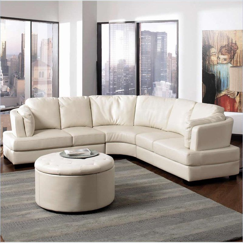 Curved Sofa Sectional Leather: Coaster Landen Curved Cream Leather Sectional $1,748.95