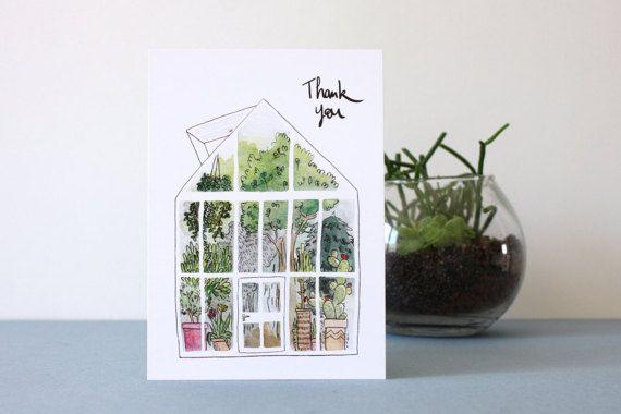 THANK YOU. Carte de remerciement. par AtelierPasteque sur Etsy