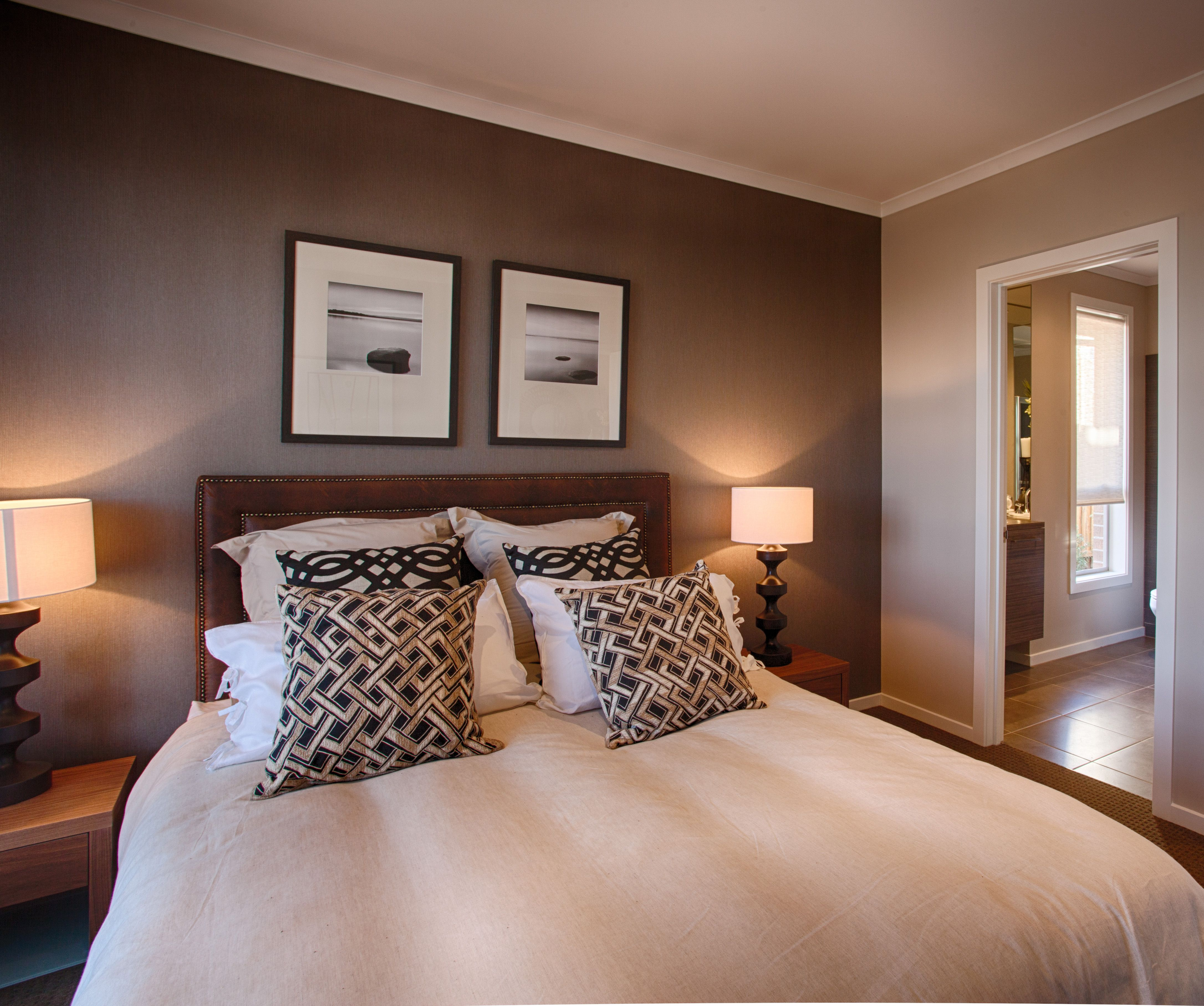 Beautiful feature wall colour in this master bedroom. I