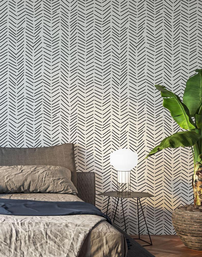 Minimalist Removable Wallpaper Chevron Wallpaper Modern Etsy In 2020 Modern Wallpaper Removable Wallpaper Statement Wallpaper Bedroom