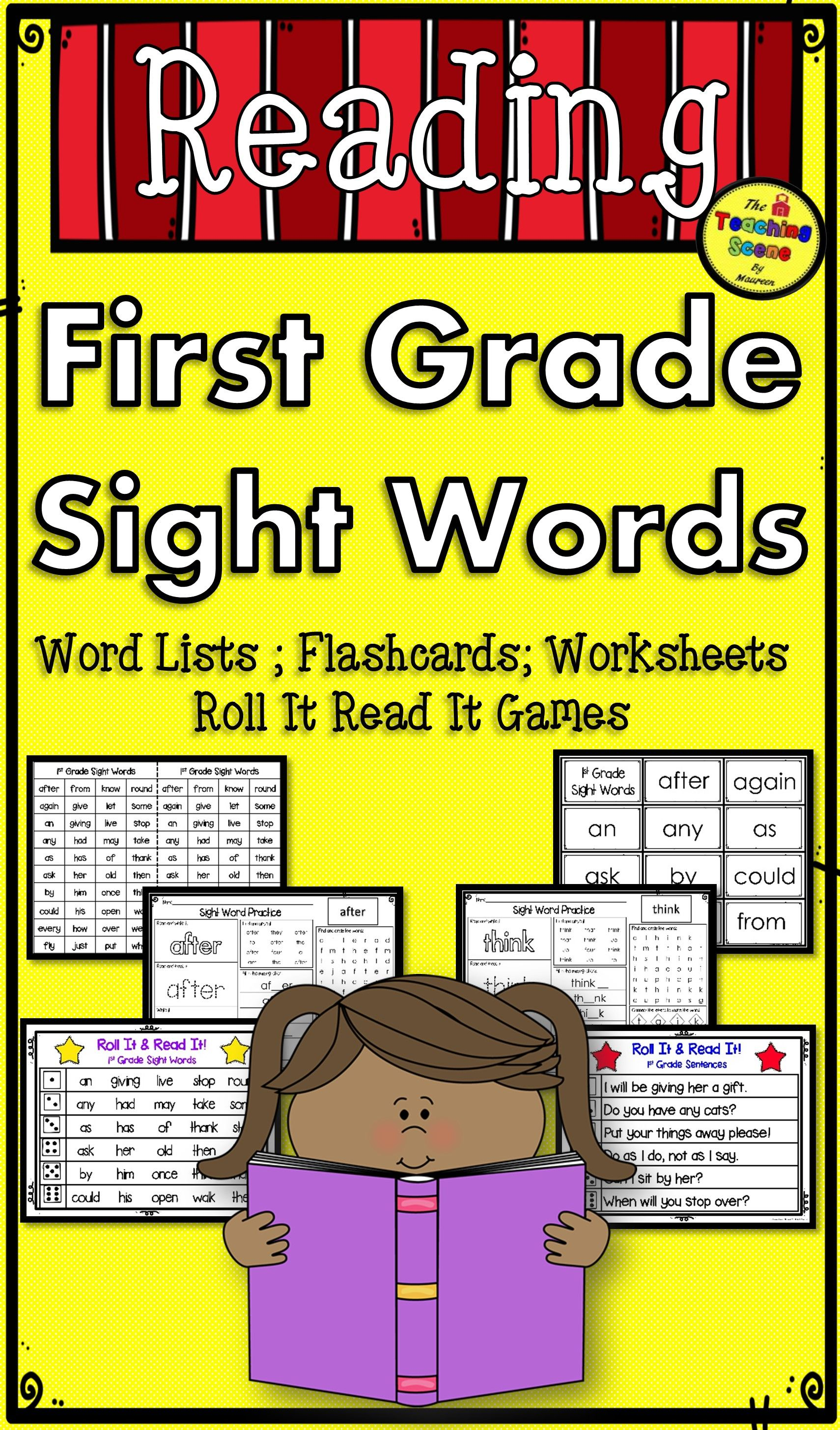 First Grade Sight Word Lists Flashcards Worksheets