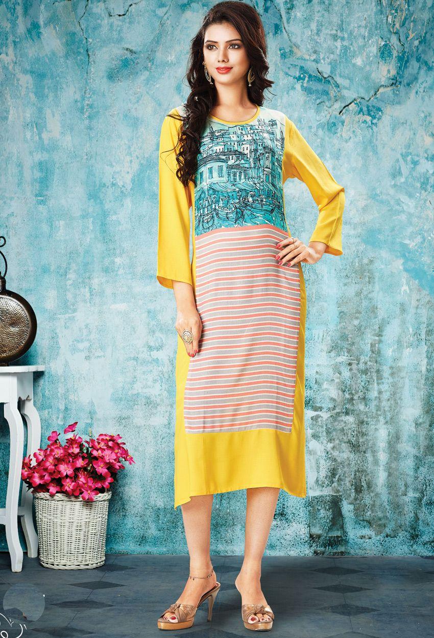8d3127761a Readymade  Yellow Premium  Rayon  Kurti  nikvik  usa  designer  australia   canada  freeshipping  dress  tunic
