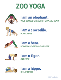 zoo animals yoga poster  classroom  kids yoga poses
