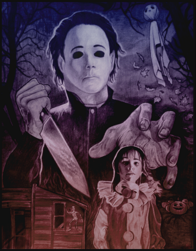 Halloween 4 Shaded And Colored Drawing With Images Horror