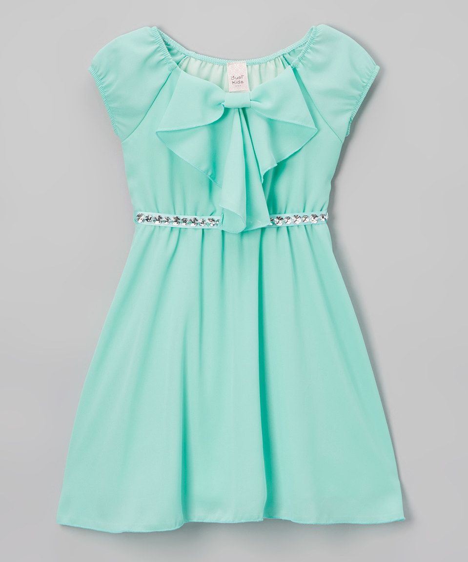 This mint ruffle aline dress girls by just kids is perfect