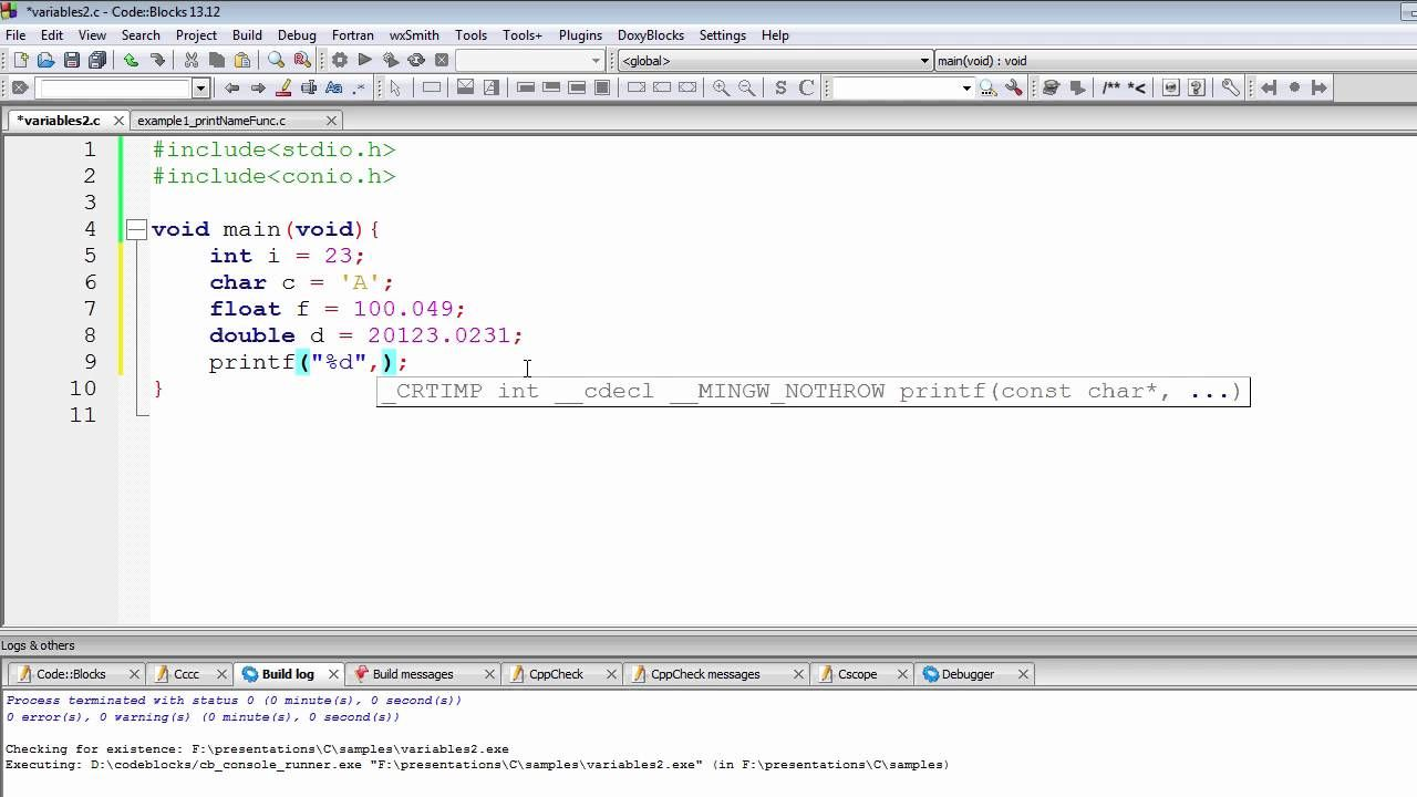 Programming Tutorial C Programming Tutorial Integer Format Specifier Variable In