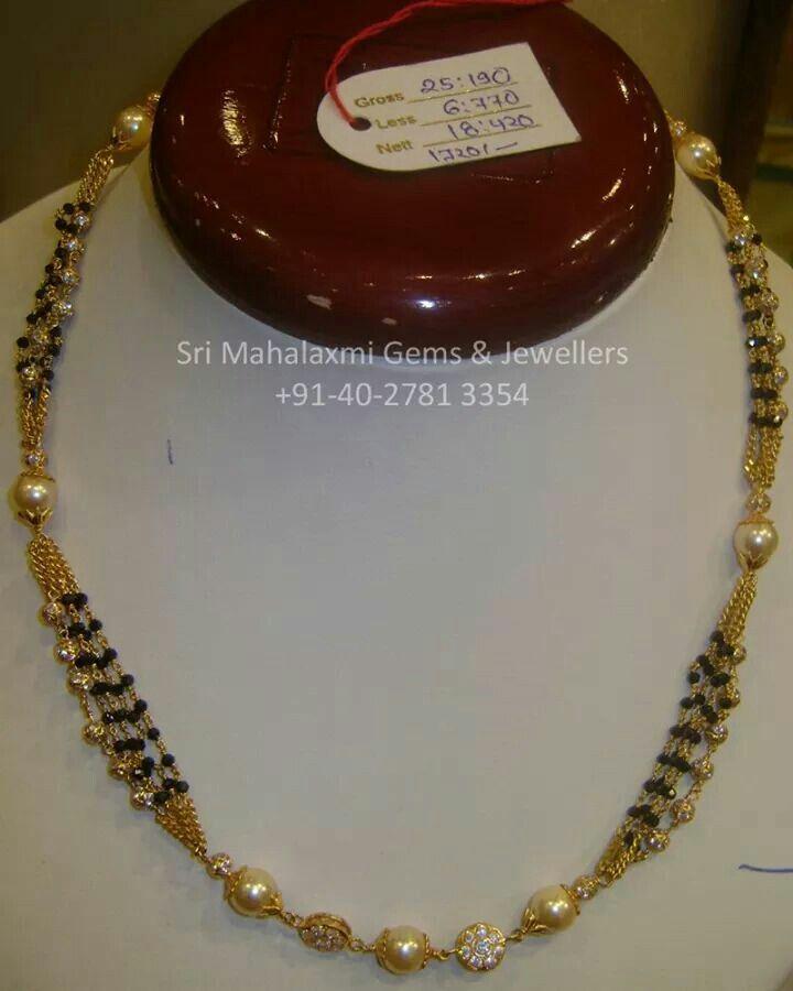 Black Diamond Beads Necklace Nalla Poosalu Simple Jewelry Gold India