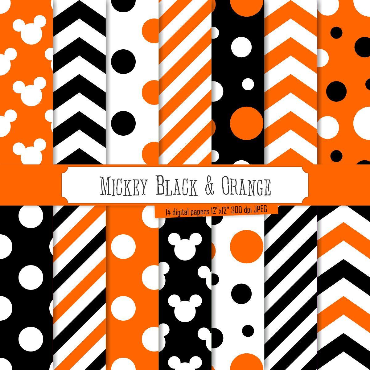 Buy 2 Get 1 Free! Digital Paper Mickey Black & Orange