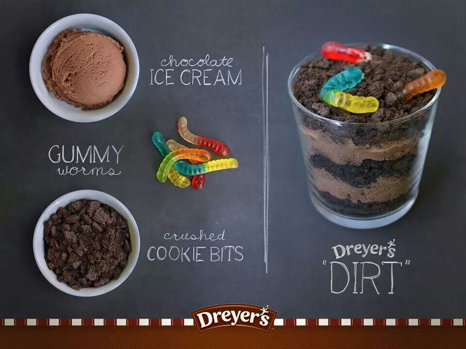 Chocolate Ice Cream Gummy Worms And Crushed Cookies