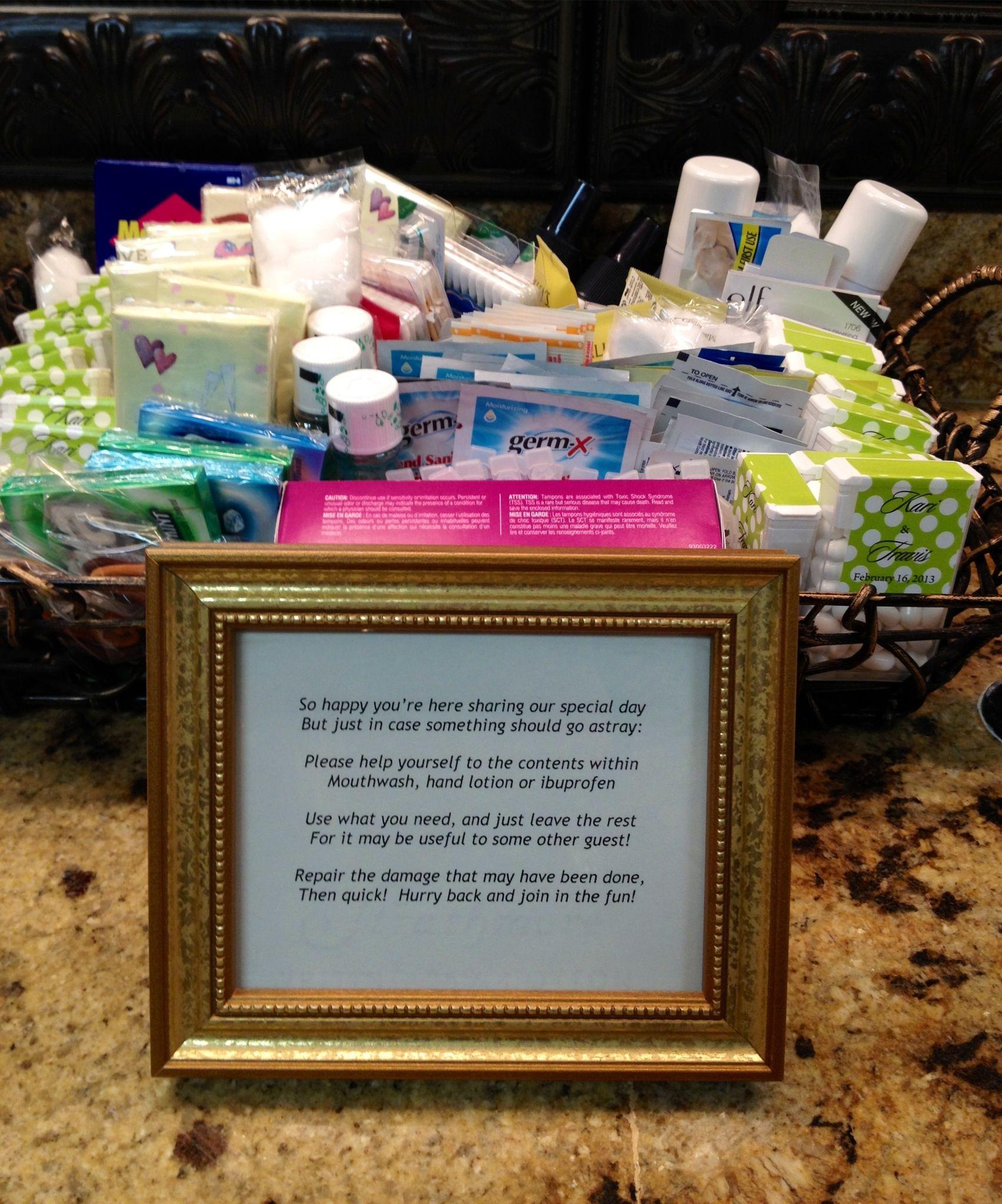 wedding bathroom baskets ideas - include travel size mouthwash ...