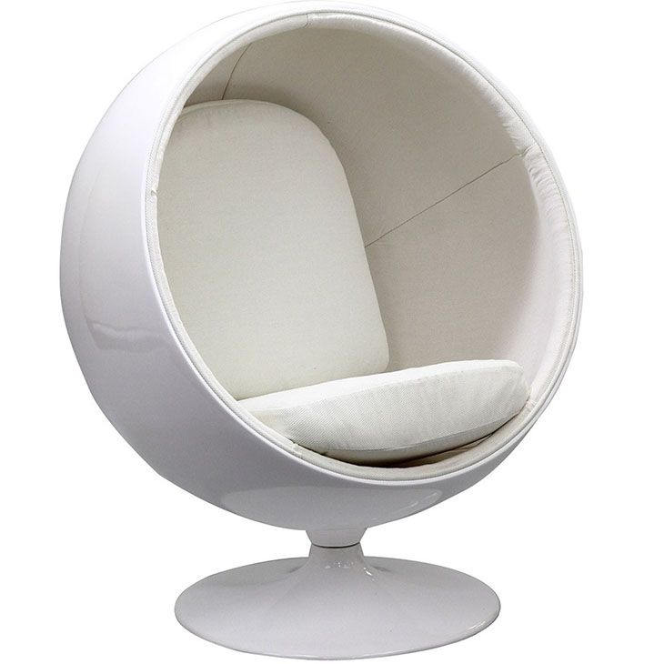 Kaddur Kids Chair in White - this retro lounge chair resembles a space-age pod creating a spark of interest in anyone who sees it. The fabric lined inner shell offers a sense of privacy and retreat as you relax into the plush cushions. Its exterior is a wonder; a molded fiberglass