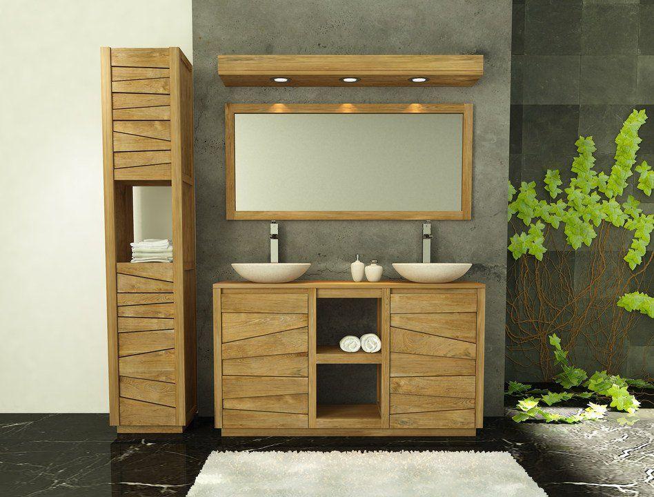 Muebles de ba os en madera de teca serie lavamanos dobles for Muebles madera teca