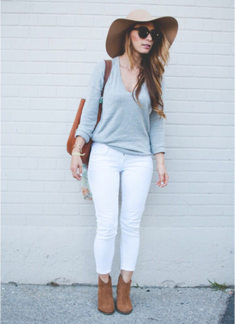 White jeans + grey top