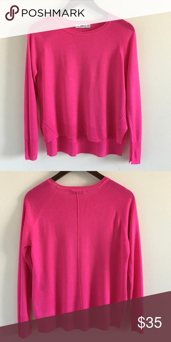 01e81b971d2 Zara hot pink knit sweater. Zara crewneck hot pink size L sweater. No sign  of wear or tear. Zara Sweaters Crew   Scoop Necks
