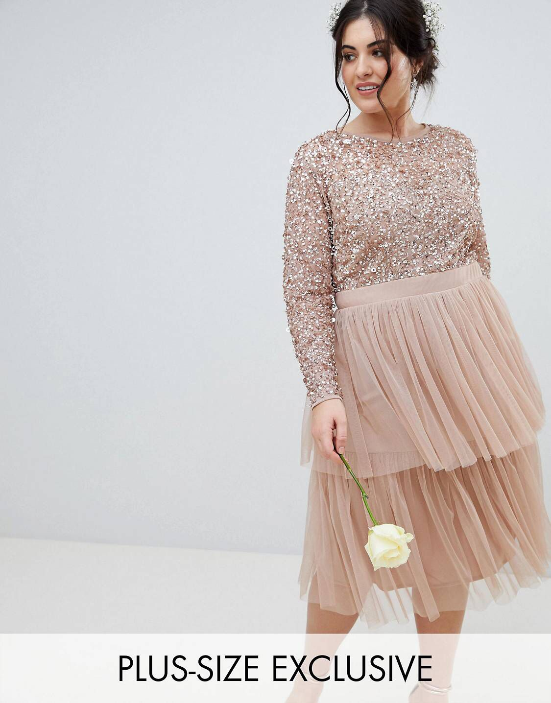 Curvy wedding guest dresses asos  Maya Plus Long Sleeve Sequin Top Midi Dress With Tiered Tulle Skirt