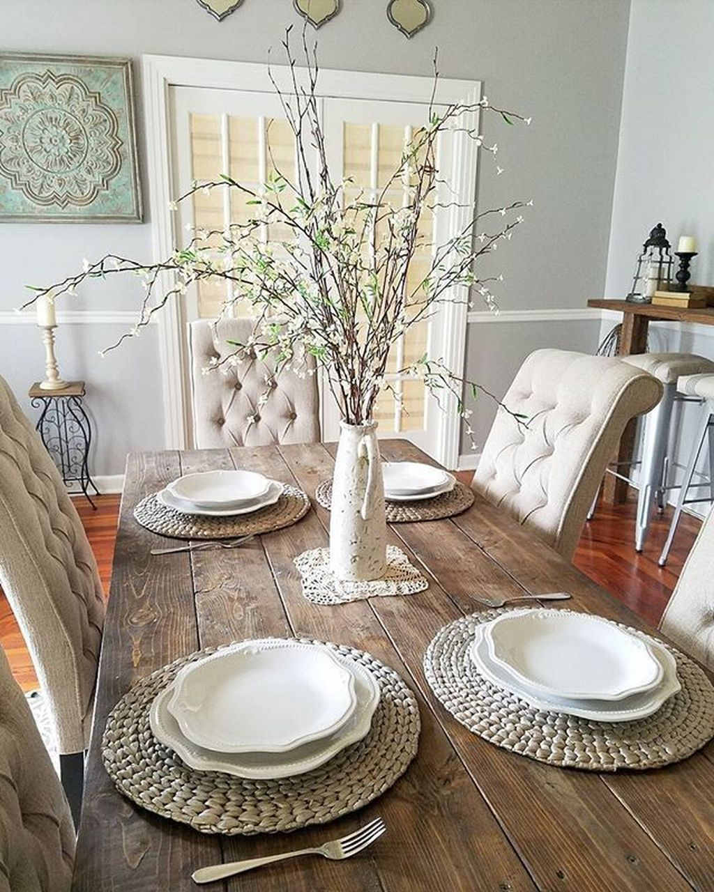 Cool 49 Awesome Modern Farmhouse Dining Room Design Ideas More At Https H Farmhouse Dining Room Table Dining Room Table Centerpieces Dining Room Table Decor