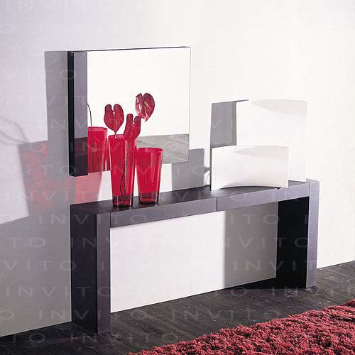 mesa tipo grapa para recibidor y espejo con lateral en madera