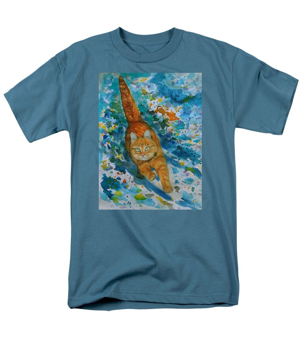 Purchase an adult t-shirt featuring the image of Orange Cat Jumping by Agnieszka Praxmayer.  Available in sizes S - 4XL.  Each t-shirt is printed on-demand, ships within 1 - 2 business days, and comes with a 30-day money-back guarantee.