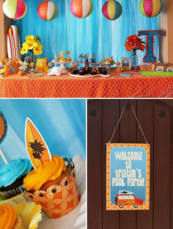 Pool Party Ideas Kids 25 best ideas about pool parties on pinterest 9th birthday party ideas for boys us swimming and summer pool party Cheers To Summer Surfer Style Kids Pool Party Ideas
