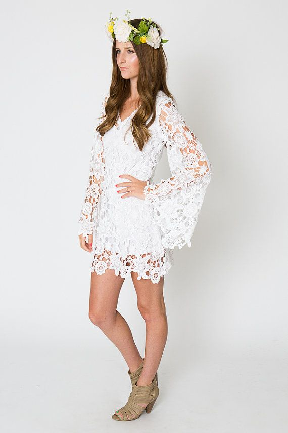 5df80eb90cf LACE mini dress BELL SLEEVE / bohemian wedding dress / destination casual  beach wedding/ vintage inspired hippie boho / ivory white on Etsy, $225.00