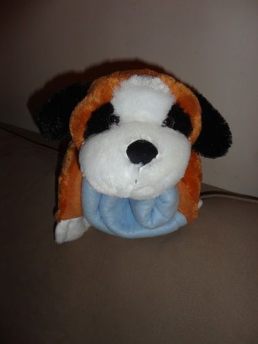 Brown Puppy Stuffed Animal Pillow With Attached Blanket By Homebest