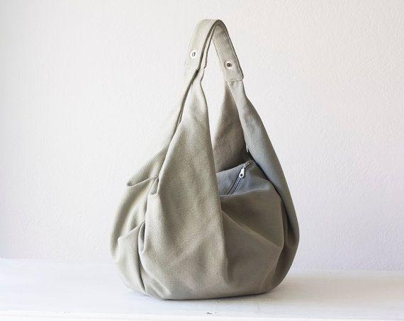 Grey slouch bag, hobo purse in cotton canvas - Kallia bag - Black ...