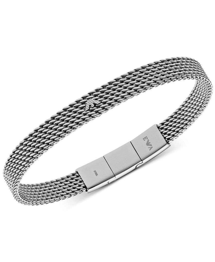 Emporio Armani Men's Stainless Steel Mesh Logo Bracelet Egs2140