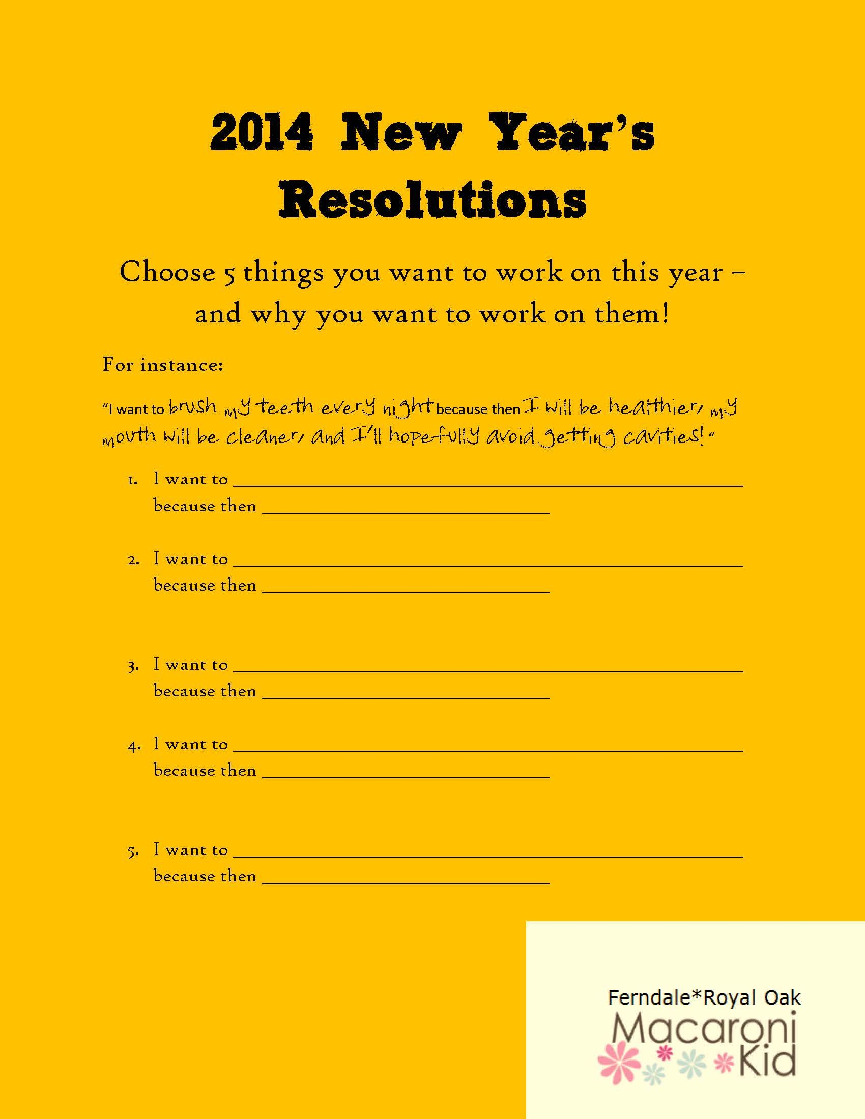 New Year's Resolution Worksheet for Kids New years