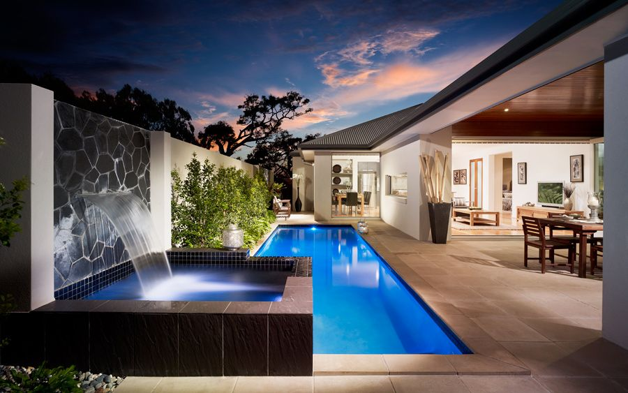 I Like The Pool Down The Side Of The House If It Gets Enough Sun Outdoor Landscape Design Outdoor Design Outdoor