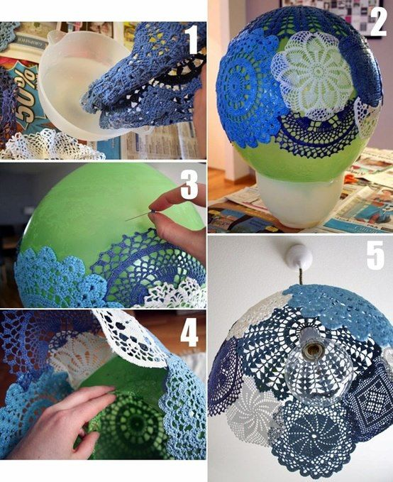 Crocheted doilies starched and formed for lampshade