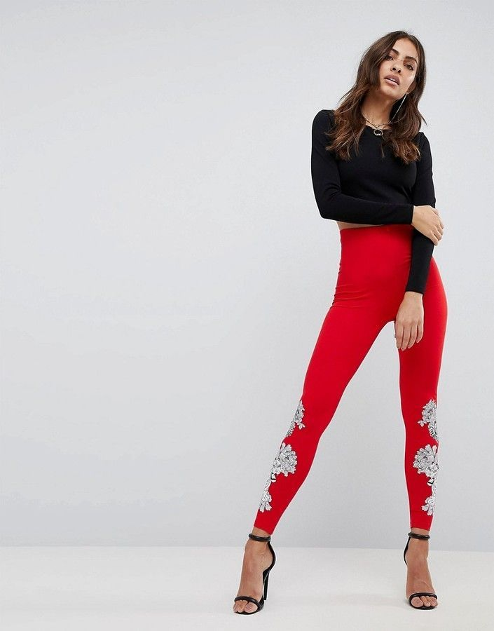 Leggings with Placed Tiger Floral Print - Red Asos F1LHIel8Ds