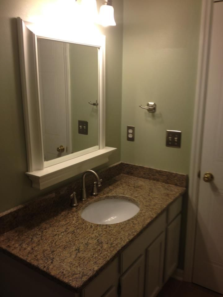 Completed project paint color behr restful mirror pottery barn metropolitan mirror with shelf for Pottery barn bathroom paint colors