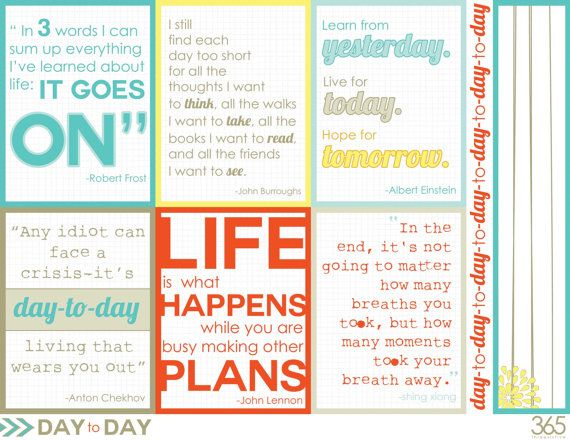 DaytoDay printable and digital 3x4 quote cards for by threesixfive - project quote