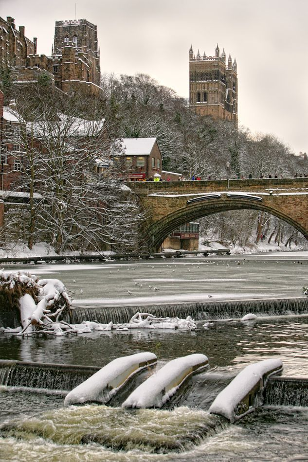 Photowilliams Durham City Winter Durham Cathedral And Icy River Wear
